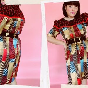 Vtg 80s Western Multi Print Silk Shift Dress S M